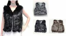 Faux Fur V Neck None Casual Waistcoats for Women