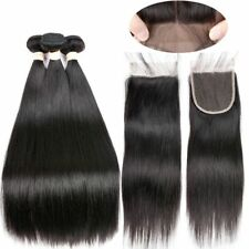 """Peruvian  Virgin Hair Straight 3 Bundles 10""""12""""14"""" With 10""""  4 by 4 Lace Closure"""