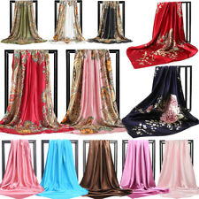 Womens Printed Satin-Silk Square Scarf Wrap Shawl Beach Scarves Stole Lot 90cm