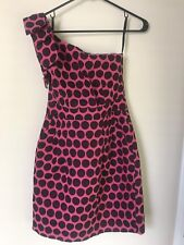French Connection Womens One Shoulder Polka Dot Dress Pockets Size 4 Black Pink