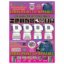 Simply Spray Easy Tie-Dye Fabric Paint 4 Colours/12 Stencils Kit Fashion Cosplay