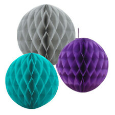 "3 PCs Purple Turquoise Grey Honeycomb Ball Flower Party Decoration [HB](10""&12"")"