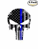 Punisher Skull American Flag Thin Blue Sticker Decal Vinyl Diecut 4 Stickers