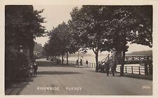 London Real Photo Postcard. Riverside Putney. Pedestrians! Pristine! c 1915