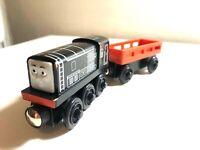 2PC Fisher Price DIESEL& CARGO CAR Y5194 Thomas & Friends Wood Toy Train