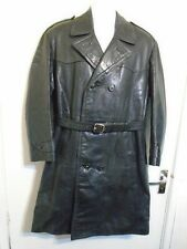 VINTAGE 60'S SWEDISH POLICE OFFICER GOATSKIN LEATHER TRENCH COAT JACKET SIZE M