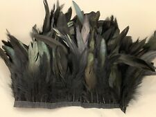Black Rooster Feather  Strip For Cloth Halloween Custume Decoration