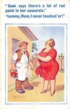 POSTCARD  COMIC   DONALD  McGILL   Red  Paint  casserole