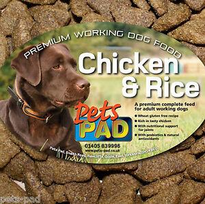 Premium Complete Chicken & Rice Dog Food, Wheat Gluten Free, inc Probiotics 15kg