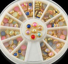 120PCS 3D Nail Art Tips Pearls Studs Glitter Rhinestone DIY Decoration+Wheel hs9