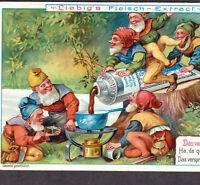 Antique Victorian Garden Gnome 1903 Fantasy Picnic Dwarf Party Liebig Trade Card