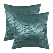 2pcs Teal Cushion Covers Pillow Shell Tropical Fern Leaf Home Decor Sofa 45x45cm