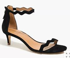 J Crew Womens Strappy Scalloped Suede Kitten Heels Black/Dusty Ginger 7M/6.5M