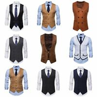 Men's Botton Formal Business Slim Fit Vest Dress Suit Waistcoat Top V neck