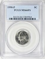 1990-P JEFFERSON NICKEL 5c PCGS MS66 FS Full Steps