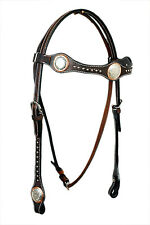 Western Dark Oil Leather Shaped Headstall with Brown Print Overlay