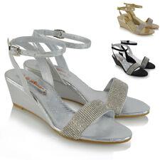 Para Mujer Correa De Tobillo Tacón Con Plataforma Sandalias Señoras Diamante Vacaciones Informal Zapatos Talla