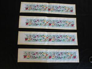 """4 COMPLETED 14-Count Cross Stitch VERTICAL FLORAL Panels - 3 1/4"""" x 18"""" ea."""