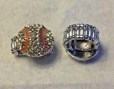 softball  ring Silver Bling