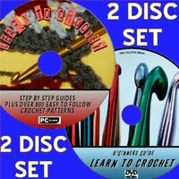 LEARN HOW TO CROCHET VIDEO DVD & PC CD INC 800+ GREAT EASY FOLLOW PATTERNS NEW
