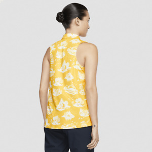 Nike Golf Dri-FIT Women's Sleeveless Printed Polo Top Yellow AV3680 743