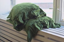 Pillow case color Treetop Green 100% Linen RUFFLE PILLOW SHAM Cover Queen King