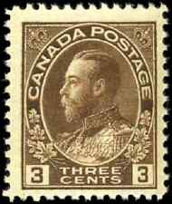 Canada #108c mint F-VF OG H 1923 King George V 3c brown Admiral Dry Printing