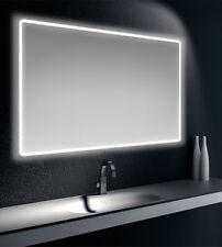 Specchiera specchio filo lucido, cornice satinata, retroilluminata LED, cm.90x75