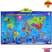 World Interactive Map Kids Smart Educational Talking Toy Children Best Gift New