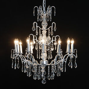 Large 12 Branch Antique Silver French Glass Chandelier CH66 RRP £450 NEW & BOXED