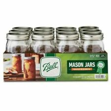Ball Quilted Crystal Glass Mason Jars with Lids&Bands Regular Mouth 32oz 12Count