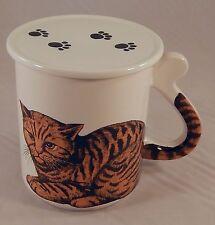 Orange Tabby Mug Cup, Cat Tail Handle with Coaster Lid Cover, JOBAR Japan