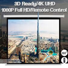 "New 150"" 4:3 Electric Motorised Projector Screen Wall Mount Ultra Full HD UHD 3D"