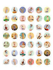 Vintage/ Retro Pin Up Girls PRINTABLE Bottle Cap Images~  42 Different Designs