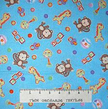Nursery Baby Fabric - Baby Talk Toy Ball Blocks Monkey Blue - Fabri-Quilt YARD