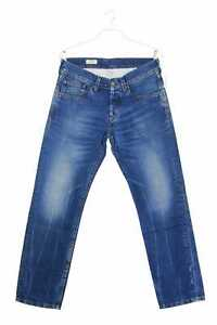 Pepe Jeans London Used Look Straight Cut Jeans Logo Badge W33 L32 denimblau
