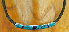 TURQUOISE & LAPIS CHANNEL INLAY STERLING SLIDE/LEATHER CORD NECKLACE - ZUNI
