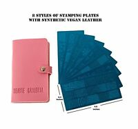 8pcs Nail Art Stamping Image Template Plates w Plate Holder & Instruction Card