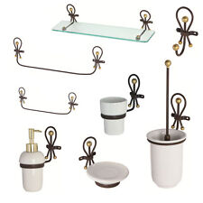 Feridras Accessori set bagno in ferro battuto e ceramica artigianale design casa