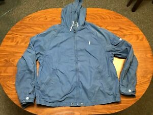 MENS USED POLO RALPH LAUREN BLUE ZIP UP HOODED GUNNER SMOCK JACKET SIZE LARGE XL