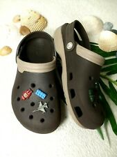 Crocs Women with ornaments on top Size * Espresso and Beige *14