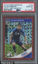 2018 Donruss Optic Red Velocity Prizm #132 Kylian Mbappe RC Rookie /50 PSA 10