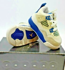 NEW! NIKE AIR JORDAN 4 RETRO (TD) WHITE/BLUE/GREY TODDLERS SIZE 3C (308500 105)