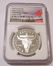 Canada 1982 Silver Dollar Regina Centennial Proof PF69 UC NGC Maple Leaf Label