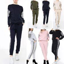 Women's Ladies Contrast Insert Tracksuit Loungewear Co-Ord 2 Piece Set