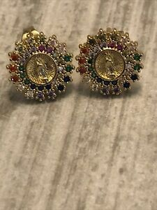 Gold Plated Virgin Guadalupe Earrings Colorful Rhinestone