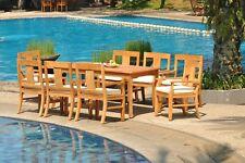 "9pc Grade-A Teak Dining Set 71"" Rectangle Table 8 Osborne Arm Chair Outdoor"