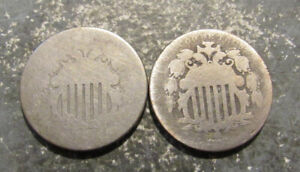 1867 and a No Date Shield Nickels