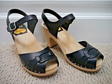 SWEDISH HASBEENS TOFFEL black leather peep-toe high heel clogs sandals size 36