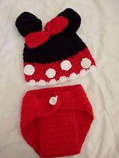 Minnie Mouse Hat & Diaper Cover Set Photo Prop Size 0-6 Month Newborn